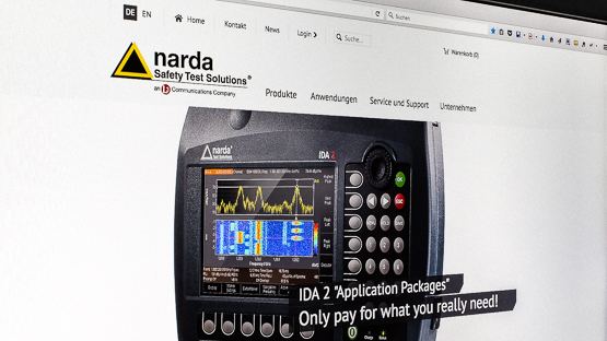Screenshot der Startseite der narda Safety Test Solutions